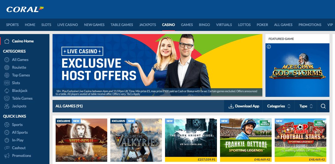 Coral Sports and Cosino Sign-up Offers
